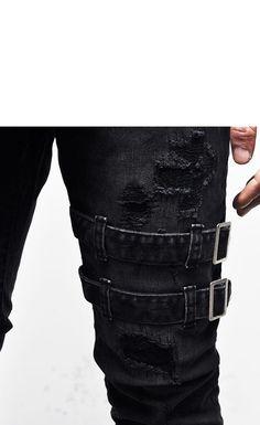 Bottoms :: Belted Rebel Grunge Black Slim Biker-Jeans 173 - Mens Fashion Clothing For An Attractive Guy Look