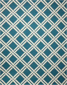 LIN04 Linear Teal/Ivory - A bamboo-inspired diamond design creates a stunning style statement that's destined to steal the spotlight. Presented in thrilling teal and fascinating ivory shades and dexterously woven from an extravagant wool for a superb softness.