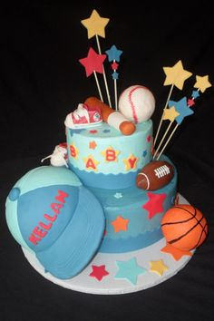 Cake Decorating Foam Balls : sports+themed+baby+shower+cakes Sports Themed Baby ...