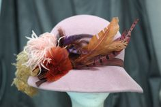 This hat was made to go with Phryne's dusty pink velvet coat worn in 'Dead Air' (Series 2, Episode 11) #MissFisher #PhryneFisher #hat #hats #vintage #fashion #costume #pink #feathers
