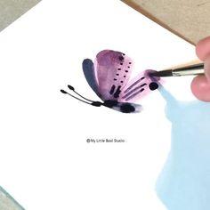 Watercolor Flowers Tutorial, Watercolor Art Diy, Watercolor Projects, Butterfly Watercolor, Watercolour Tutorials, Butterfly Art, Floral Watercolor, Watercolor Paintings For Beginners, Canvas Painting Tutorials