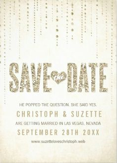 Shimmering glitter and gold classy save-the-date wedding invitations.