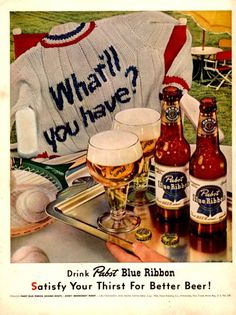 1952 Pabst Blue Ribbon Beer vintage print ad Tennis by Vividiom, $9.00