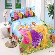 bright color princess bedding sets single twin size bedclothes bed quilt duvet covers sheets childrens Girl's home textile