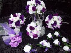 CUSTOM 12 pieces made to order Brides on a Budget  Flower Package WeDDiNG BouQuets PuRPLe and IVoRY RoSeS. $170.00, via Etsy.