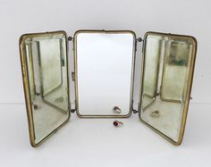 tri-fold shaving mirror | Antique Trifold Mirror, Shaving Mirror, Travel Mirror, Beveled Edges ...