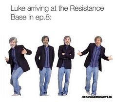 Luke showing up at the Resistance Base in episode VIII -> TRUE Memes, Star War 3, Mark Hamill, The Force Is Strong, Star Wars Humor, Love Stars, Reylo, Cinema, Clone Wars