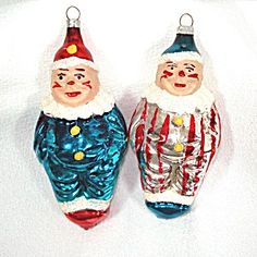 2 West Germany 1950s Clown Christmas Ornaments