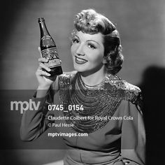 """In the 1940s, #ClaudetteColbert appeared in ad campaigns for Royal Crown Cola.  """"One #cola DOES taste best,"""" she said.  """"Take time out for a 'quick-up' with #RoyalCrownCola,"""" the ad read.  #PaulHesse #oldHollywood #RCcola #TasteTest #mptvimages"""