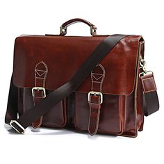 "Handmade Superior Leather Briefcase, Messenger Bag ~ with 14"" 15"" Laptop / 13"" 15"" MacBook Sleeve"