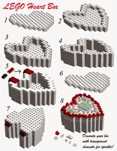 LEGO Heart shaped box instructions for a heart that opens and closes