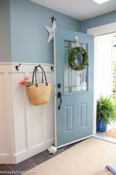 Front door color ❤️❤️❤️ Lake House Summer Tour with beachy coastal colourful entry hall dining room and deck at the happy Coastal Bathrooms, Coastal Living Rooms, Coastal Cottage, Coastal Homes, Coastal Decor, Coastal Style, Coastal Farmhouse, Coastal Entryway, Beach Homes
