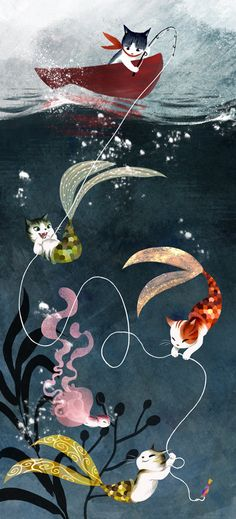 Cat lovers will enjoy this illustration of a sailor cat whos in for an unexpected surprise by some undersea guests!    Drawn with a combination of