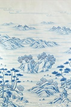 Scenic exotic landscapes hand-painted Chinese paper from Gracie Studio in beautiful blue and white. Blue And White Wallpaper, Asian Landscape, Chinese Architecture, Chinese Painting, Pattern Wallpaper, Chinoiserie, Exotic, Tapestry, Hand Painted