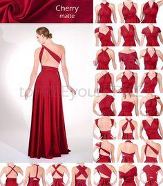 Lange Infinity Kleid in Kirsche rot matt FULL Free-Style