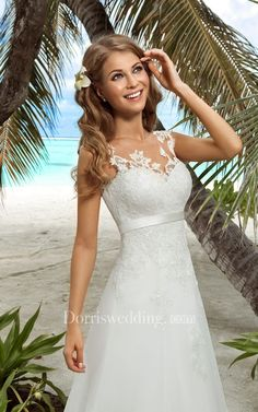 Free Shipping! A-Line Floor-Length V-Neck Sleeveless Lace-Up Organza Dress With Appliques www.dorriswedding..... Gorgeous off the shoulder wedding dresses, long sleeve wedding dresses, ball gown wedding dresses are waiting to be discovered at www.dorriswedding.com with affordable prices. #DorrisWedding.com #beachweddingdress