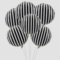 Black & White Striped Mylar Balloons - 6 Pk Party Supplies Canada - Open A Party Black White Parties, Black White Stripes, Black And White Party Decorations, Pink White, Black Party, Orange Pink, Black Tie, Solid Black, Purple