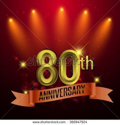 80th Anniversary, Party poster, banner or invitation - background glowing element. Vector Illustration. - stock vector