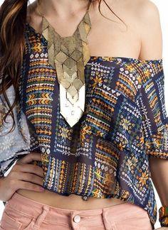 tribal crop top & necklace