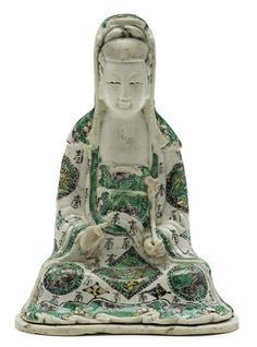 Chinese famille verte biscuit porcelain Guanyin Qing dynasty The seated guanyin robe adorned with shou symbols and qilong roundles, holds a lotus leaf in one hand and bears a serene expression. Guanyin, Qing Dynasty, Asian Art, Buddhism, Goddesses, 18th Century, Art Decor, Bears, Zen