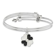 Silver-Tone Trinky Things Black/White Mother Of Bride Bracelet/Card