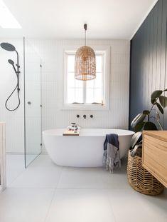 American Home Interior Room tour: A stunning deep blue coastal luxe bathroom.American Home Interior Room tour: A stunning deep blue coastal luxe bathroom Bathroom Layout, Bathroom Interior Design, Bathroom Styling, Bathroom Ideas, Vanity Bathroom, Bathroom Organization, Bathroom Storage, Bathroom Cabinets, Light Bathroom