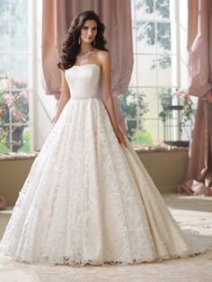 David Tutera - Strapless allover ornate cut out organza and tulle over satin ball gown wedding dress with softly curved neckline, delicately hand-beaded natural waistband, scalloped hemline spills int