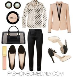 Dress up a white and black polka dot printed button up blouse, a blazer in nude pink with a contrast black lapel and cuff, and tailored black cigarette pants.