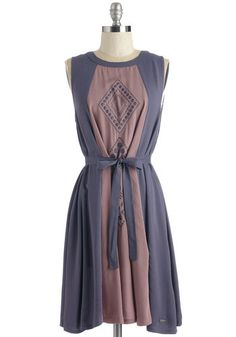 Market and Caboodle Dress - Mid-length, Multi, Solid, Embroidery, Casual, Boho, Shift, Sleeveless, Woven, Belted