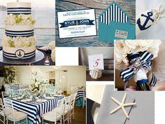 Marynistyczne detale wesele Niebieski, czerwony, pasy, kotwice - marynarskie detale na ślubie Weselne dekoracje w marynarskim stylu Granat, czerwień, biel na weselu
