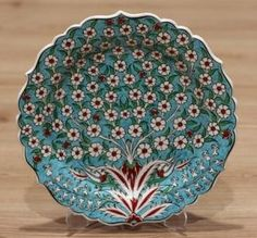 Turkish Traditional Hand made ,Hand Painted iznik Ceramic Floral Design Red Lotus Flower Hanging Plates, Plates On Wall, Turkish Plates, Turkish Design, Tree Of Life, Decorative Bowls, Floral Design, Wall Decor, Hand Painted