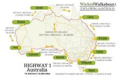 How long does it take to Road Trip Australia on Highway 1 is part of How Long Does It Take To Road Trip Australia On Highway - How long does it take to drive from Sydney to Perth or Mebourne to Cairns How to plan your road trip and travel around Australia Perth, Brisbane, Cairns, Cover App, Highway 1, Australia Map, Vacation Places, Travel Around, The Good Place
