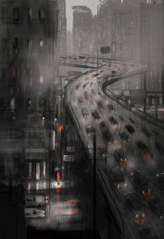 Feels like being stuck in the middle of a rain storm in New York City.funny story for the inspiration for this one.This morning my son woke up and. Feels like being stuck in the middle of a rain Storyboard, Rainy City, Pascal Campion, Stuck In The Middle, Rain Storm, Grafik Design, Nocturne, Background Patterns, Photo Art
