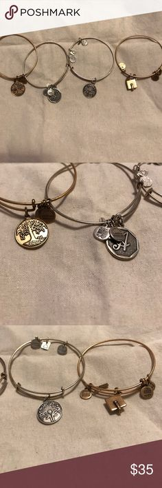 """Alex and Ani bundle Tree of life, letter """"A"""", special olympics, and graduation cap bangles.  Good condition. 4 brackets for a little more than the price of one. Alex & Ani Jewelry Bracelets"""