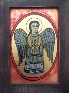 Icoane romanesti pictate pe sticla in tehnica traditionala Christian Paintings, Christian Art, Angel Artwork, Religious Icons, Sacred Art, Soft Sculpture, Painted Rocks, Catholic, Medieval