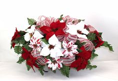Holiday Christmas Red & White Poinsettia's Silk Flower Cemetery Tombstone Saddle #Crazyboutdeco