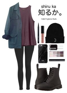 """Soft Grunge // Random #38"" by mouseygoldtooth ❤ liked on Polyvore featuring Topshop, RVCA, HUGO, Dr. Martens, Native Union, Bobbi Brown Cosmetics, NYX and Essie"
