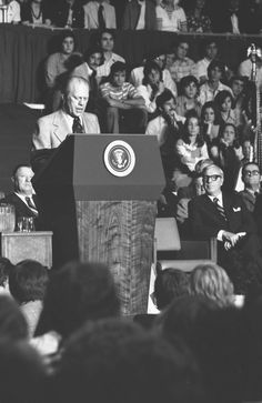 "President Gerald Ford declares that the Vietnam War ""is finished as far as America is concerned"" during his Convocation Address at Tulane University in New Orleans. April 23, 1975."