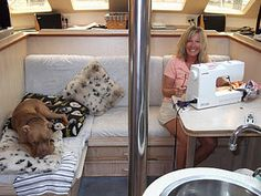 Laura - lives on her boat with her man and her pitbull, and sews! Great sewing project ideas.