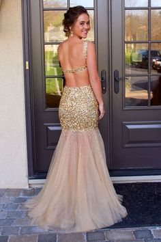 Mermaid Tulle Shining Sexy Backless Beading Long Prom Dress,Evening Dresses
