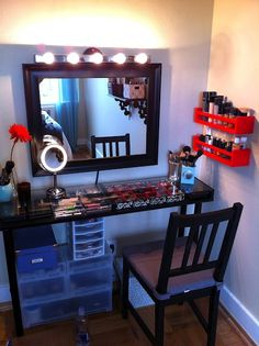 DIY organization area, make-up station, hair styling station, nail salon and vanity all in one. You may choose different paint colors, stencils, etching types, contact paper, lighting and shelving to create a personal space for yourself.