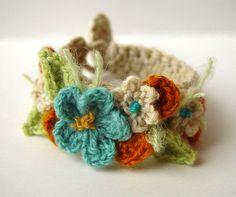 Crochetar Faixa de Cabeça Punho com Flores - / Crochet Headband Handle with Flowers -