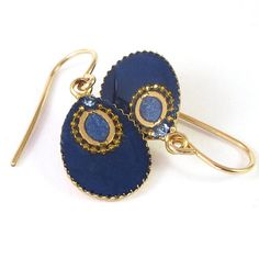 Blue earrings Gold small dangle Earrings Dark by SigalitAlcalai, $32.00