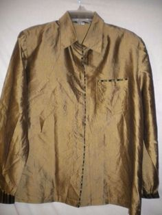 Thai Silk 100% XL Olive Hidden Button Front Long Sleeve Women Dress Shirt Blouse #ThaiSilk #ButtonDownShirt #Versatile