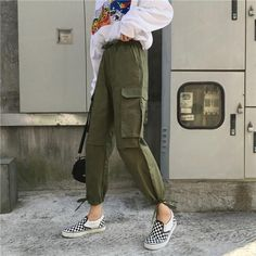 Pants Women 2019 Ankle-Length High Drawstring Waist Solid Pockets Womens Leisure Loose Korean Style Simple All-match Trendy Chic Source by women Cool Summer Outfits, Trendy Outfits, Curvy Women Fashion, Womens Fashion, Fashion 2017, Fashion Pants, Fashion Outfits, Fashion Sandals, Cargo Pants Outfit