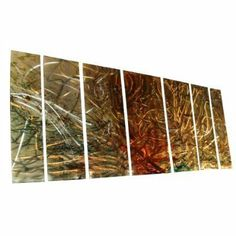 """All My Walls SWM00047 Metal Wall Sculpture by Ash Carl by All My Walls. $861.00. This 7 panel metal wall sculpture by artist Ash Carl will mesmerize you and your guests! The hand sanded finish on the metal creates a unique 3 dimensional effect. As you pass by, the artwork seemingly """"moves"""" by reflecting any light in the room. Lighting brings out amazing movement and texture in each panel! paint is applies to protect the metal and it features an amazin..."""