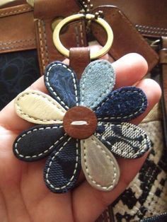 your COACH Key Fobs here! No instructions here. But cool idea for denim, leather and tapestry scrapsNo instructions here. But cool idea for denim, leather and tapestry scraps Jean Crafts, Denim Crafts, Leather Jewelry, Leather Craft, Clé Fob, Artisanats Denim, Sewing Crafts, Sewing Projects, Denim Ideas