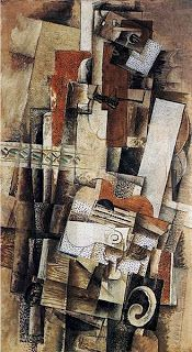 """Man with a Guitar, 1911 by Georges Braque. This painting is an example of analytic cubism and can be compared to Picasso's """"Girl with a Mandolin"""". Braque worked closely with Picasso and many of their paintings during this period are similar. Pablo Picasso, Picasso And Braque, Henri Matisse, Alberto Giacometti, Caravaggio, Georges Braque Cubism, Cubist Artists, Cubism Art, Synthetic Cubism"""