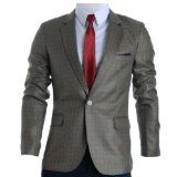 FLATSEVEN Mens Slim Fit Plaid Check Premium Blazer Jacket (BJ204)