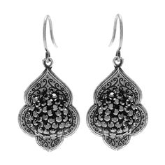 Constantina Earrings- Crystal clay & Silver Plated Vine Scroll Bezel Pendant WHAT YOU'LL NEED: (scroll down for purchase options) PND-10017 - Antiqued Silver Plated Vine Scroll Bezel Pendant Stamping 8x10mm (4) Project uses 2 pieces.  SWCH-110325 - Swarovski Crystal, 1028 Xilion Round Stone Chatons pp10, 50 Pieces, Jet Metallic Silver Project uses 100 pieces. FEA-3081 - Antiqued Silver Plated French Wire Earring Hooks 16mm (25 Pairs) TRC-230 - Crystal Clay 2-Part Epoxy Clay Kit 'Black' 25…